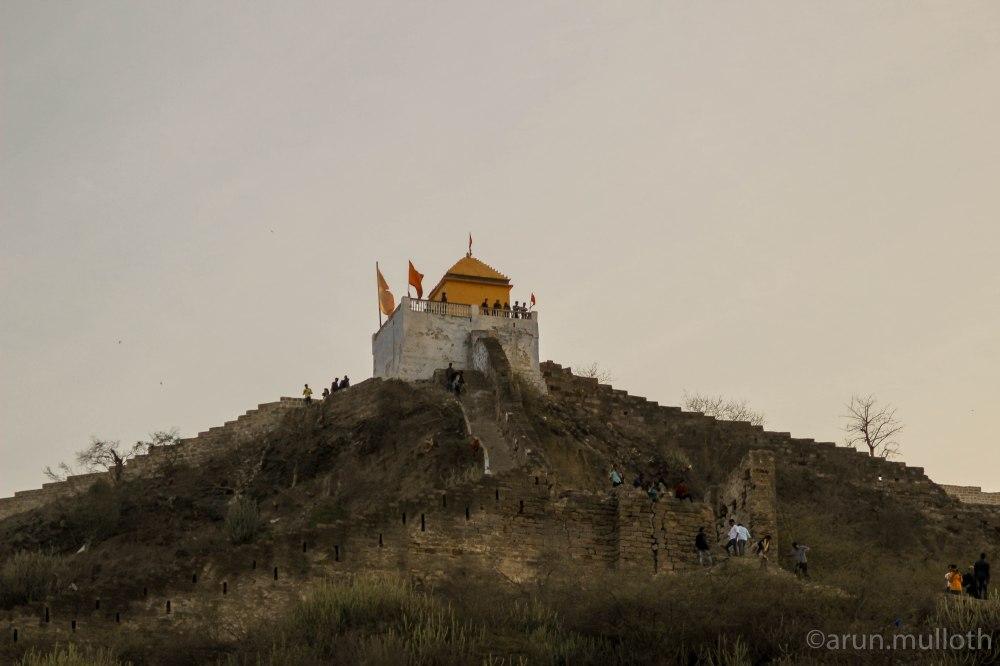 Temple atop Bhujiyo Fort